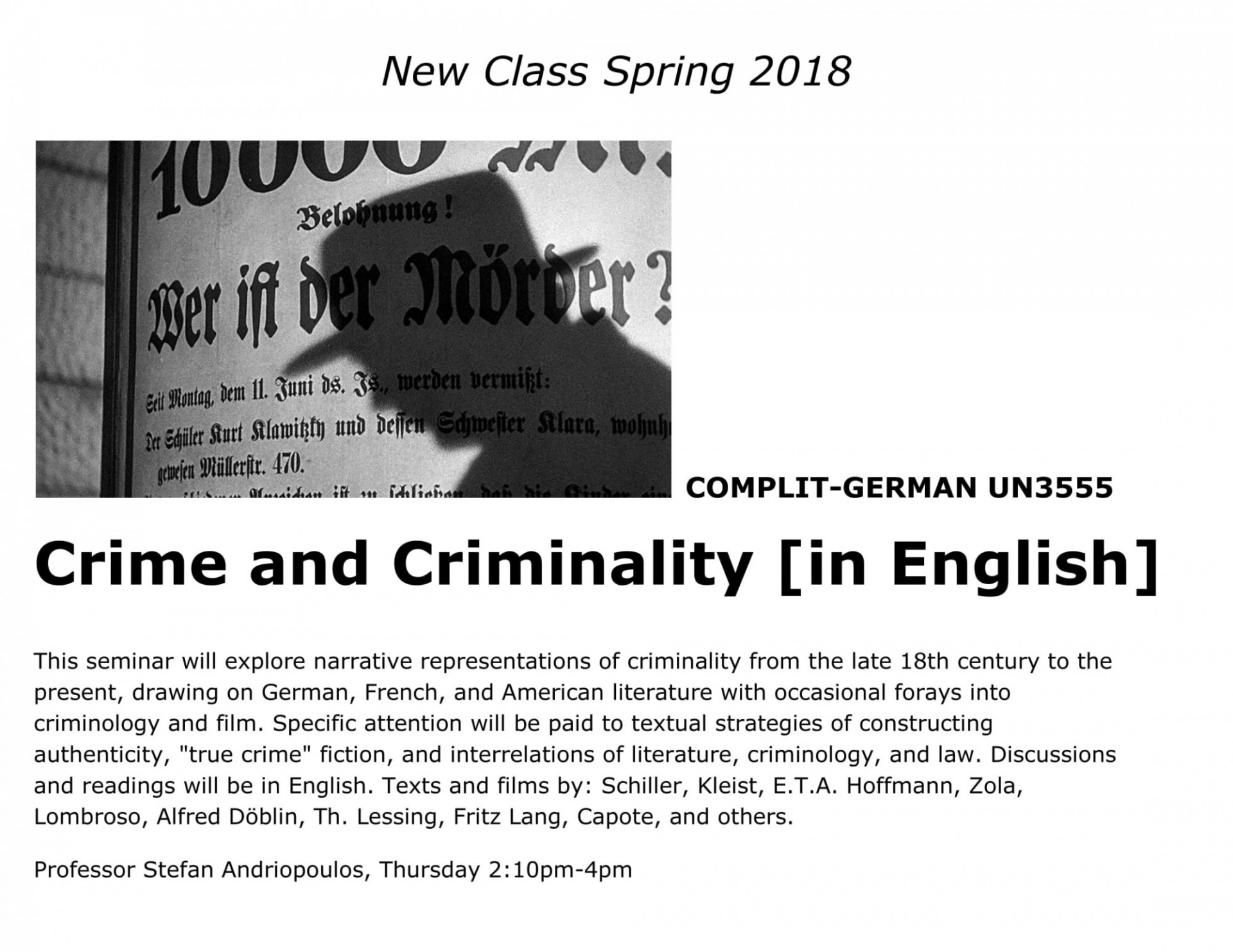 Crime and Criminality Course Poster